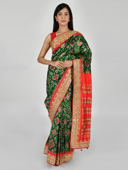 Bottle Green Patola Silk Saree For Party