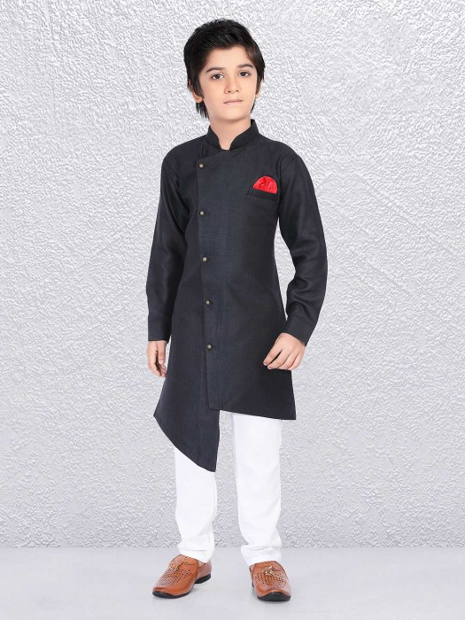 Boys Black Huy Festive Kurta Suit