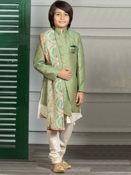 Boys Green Hue Double Layer Solid Indo Western