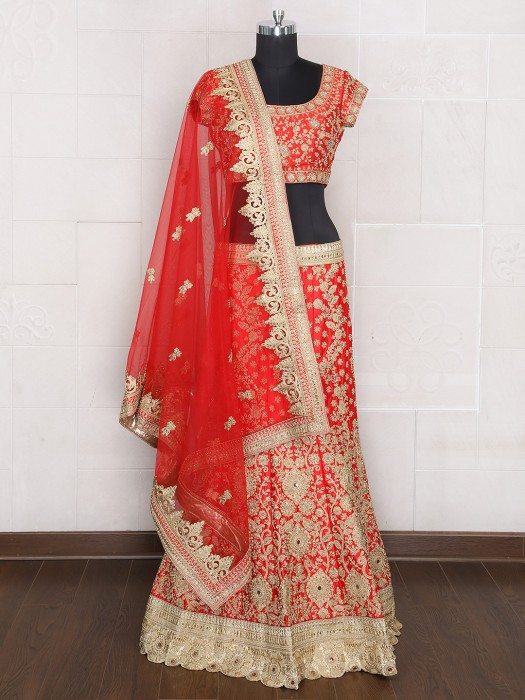 Bridal Wear Silk Unstitched Designer Lehenga Choli