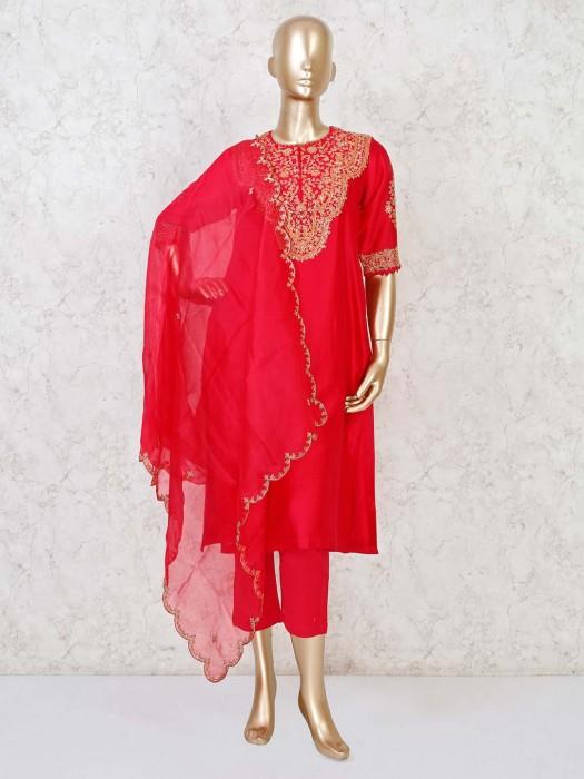 Bright Magenta Cotton Silk Punjabi Pant Suit