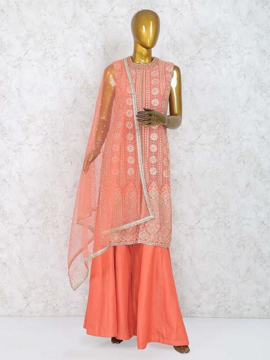 Bright Peach Color Designer Punjabi Palazzo Suit