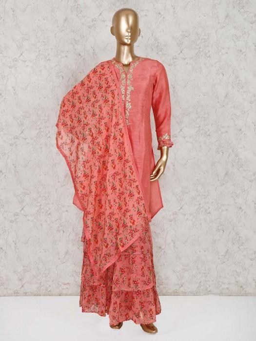 Bright Peach Cotton Silk Festive Sharara Suit