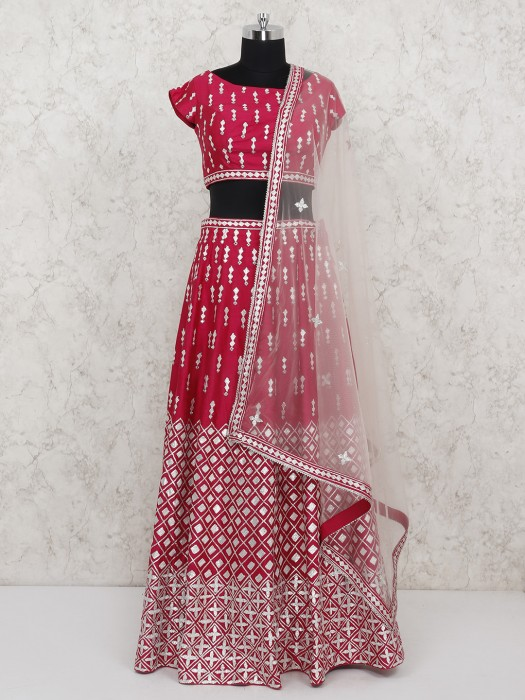 Bright Pink Silk Wedding Lehenga Choli