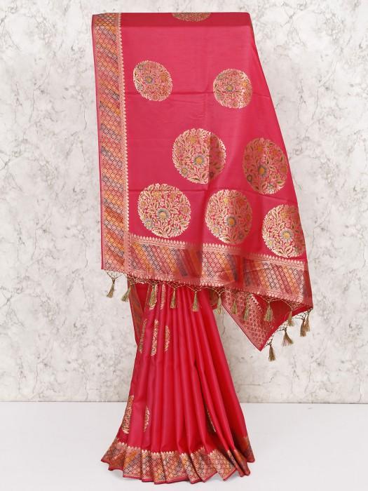 Bright Pink Wedding Saree In Silk