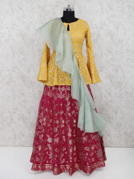 Bright Yellow Hue Silk Fabric Peplum Style Lehenga Choli