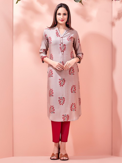 Brown Collar Neck Printed Kurti For Festive