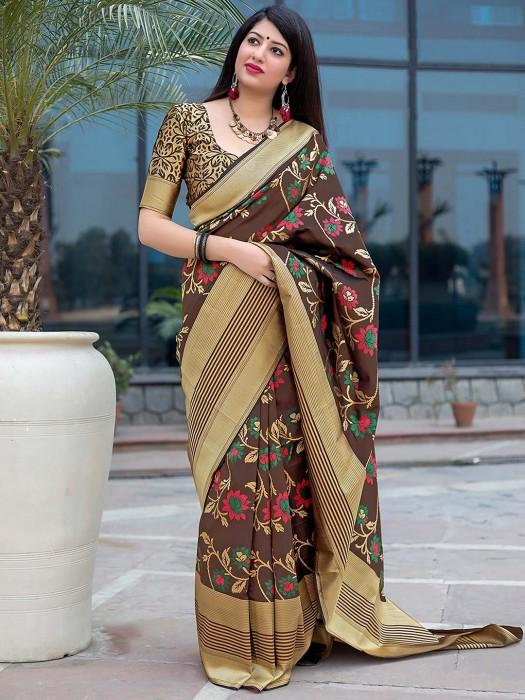 Brown Color Semi Silk Festive Wear Saree