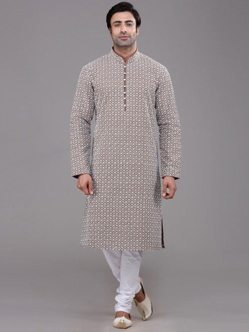 Brown Cotton Farbic Chikan Kurta Suit