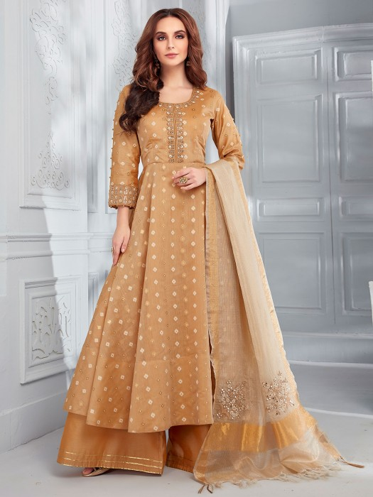 Brown Cotton Silk Festive Or Party Punjabi Palazzo Suit