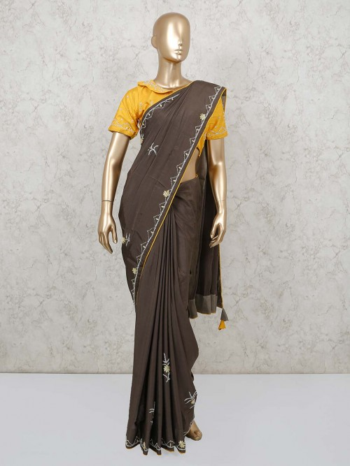 Brown Dola Silk Party Wear Saree With Readymade Blouse