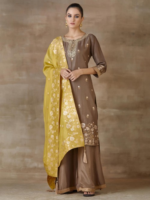 Brown Festivals Wear Cotton Palazzo Salwar Suits