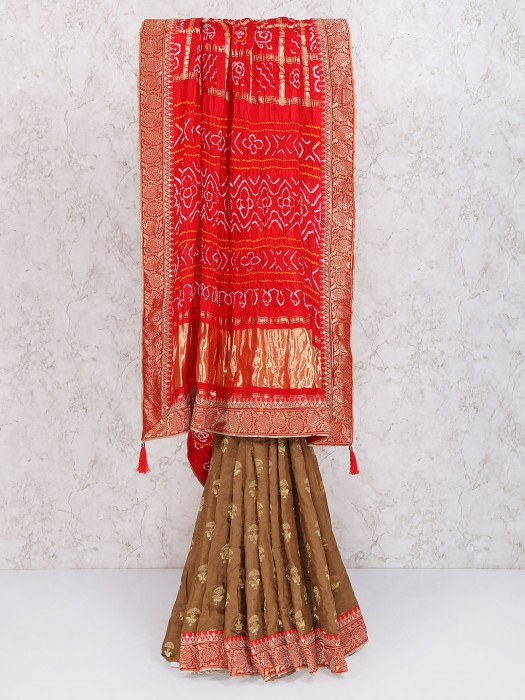 Brown Gajji Silk Half And Half Saree