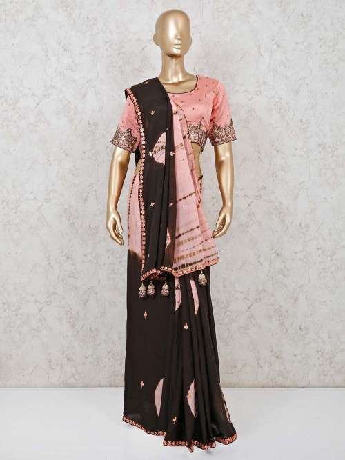 Brown Georgette Saree With Readymade Blouse