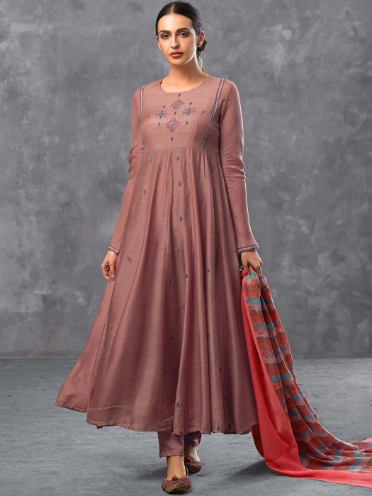 Brown Hue Cotton Festive Wear Pakistani Anarkali Suit