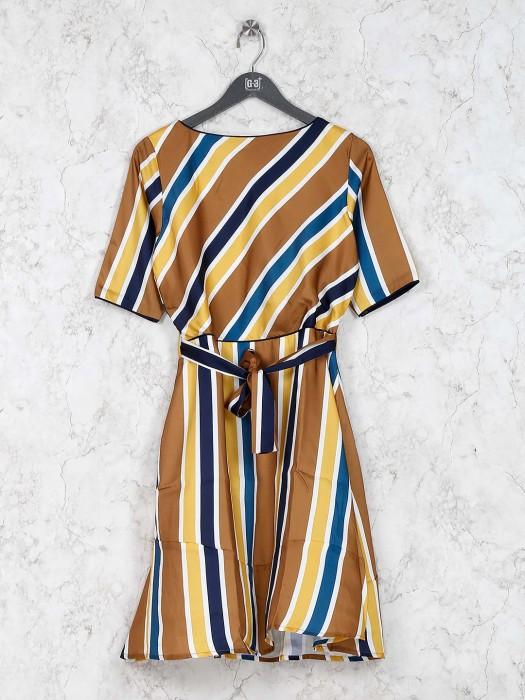 Brown Hue Stripe Kurti In Cotton