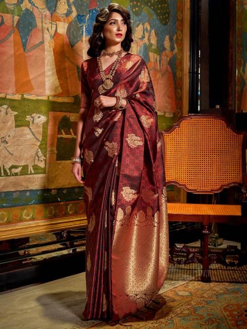 Brown Jacquard Silk Zari Weaving Saree