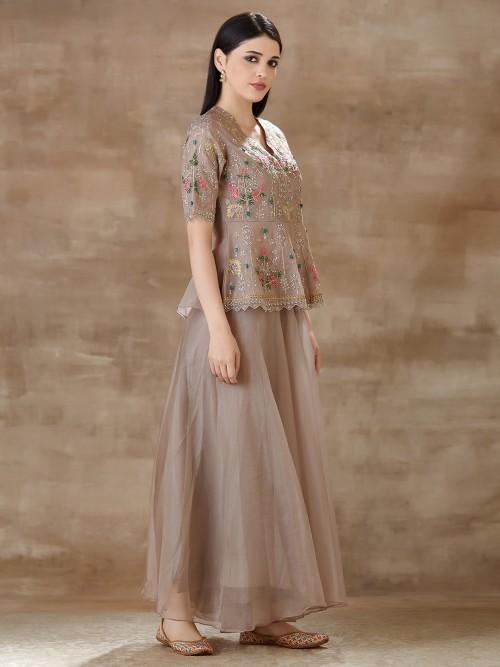 Brown Lehenga Style Salwar Suit In Organza Tissue