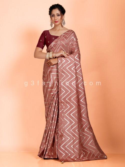Brown Leheriya Saree In Dola Silk