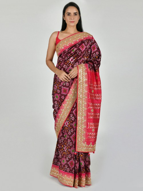 Brown Patola Silk Saree In Party Function