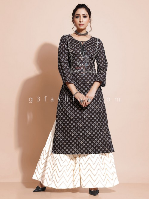 Brown Printed Kurti With Palazzo In Cotton
