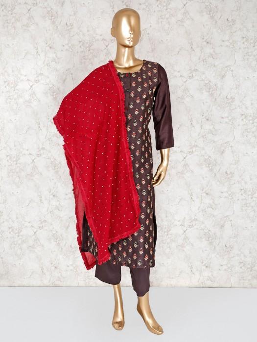 Brown Punjabi Salwar Kameez In Raw Silk