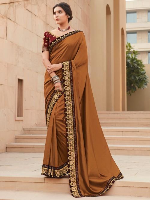 Brown Satin Saree For Winter Weddings
