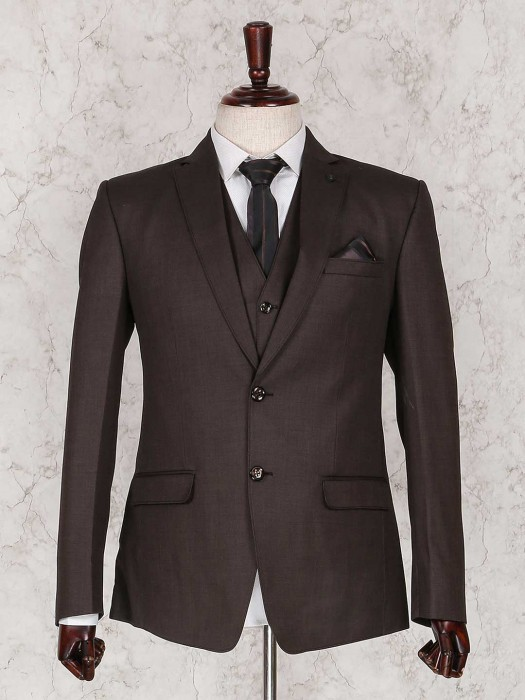 Brown Three Piece Solid Coat Suit