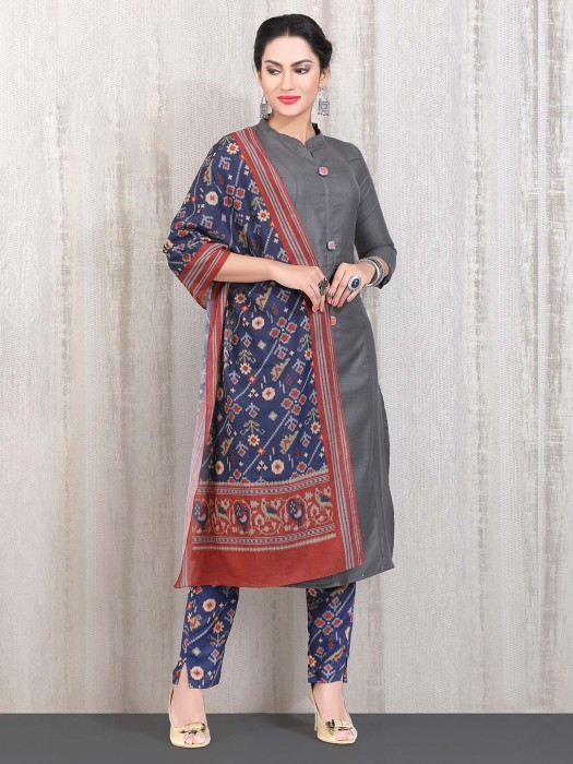 Casual Grey Solid Cotton Straight Cut Punjabi Pant Suit