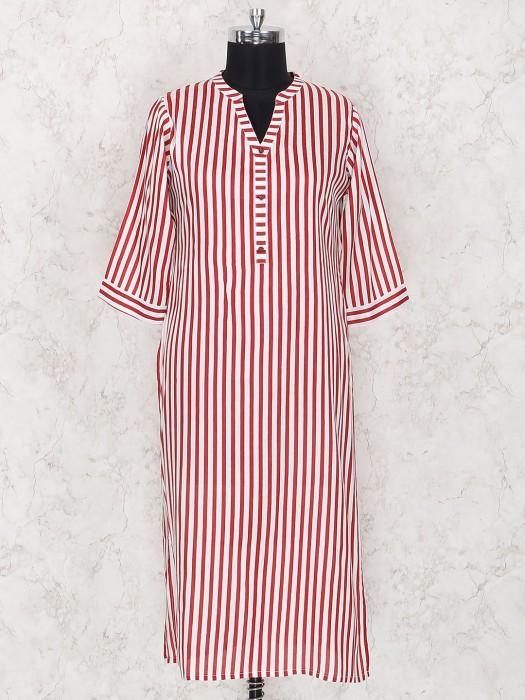 Casual Red Stripe Cotton Fabric Kurti