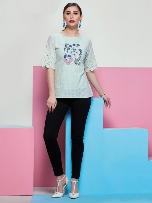 Casual Top In Pista Green Chikankari Top With Elbow Sleeves