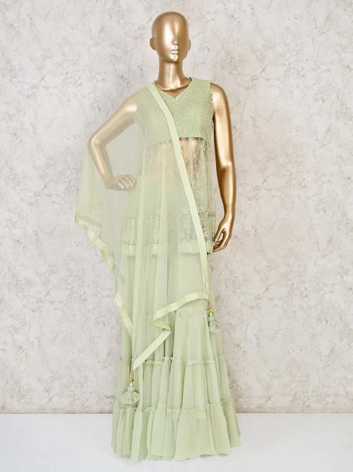 CDesigner Pista Green Sharara Salwar Suit In Georgette