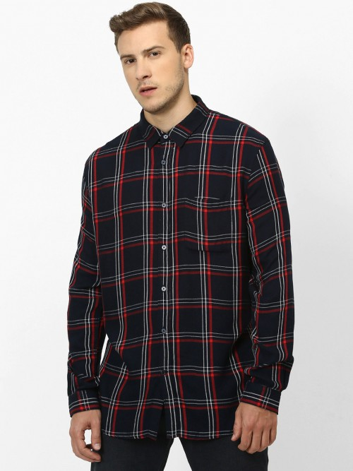 Celio Black Checks Patch Pocket Shirt