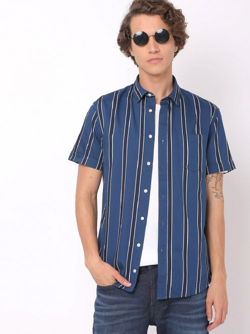 Celio Cotton Casual Blue Stripe Shirt
