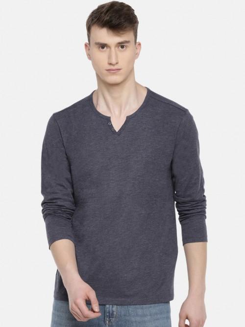 Celio Dark Grey Cotton Solid T-shirt
