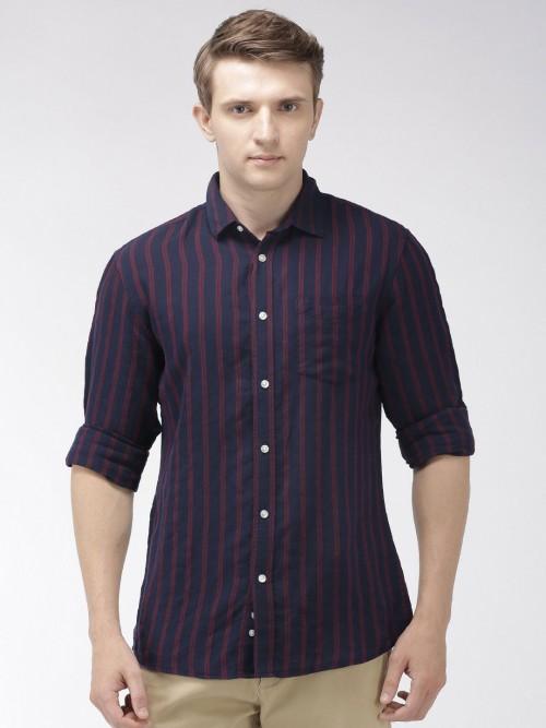 Celio Full Sleeves Navy Stripe Shirt