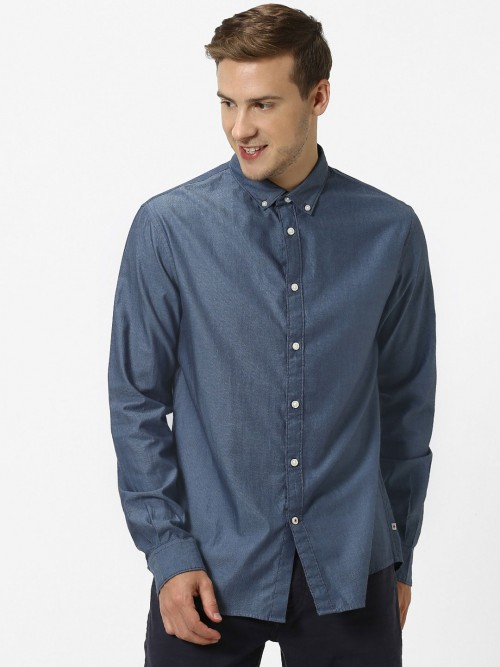 Celio Grey Solid Full Buttoned Placket Shirt