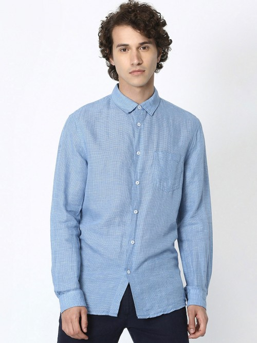 Celio Linen Light Blue Solid Shirt