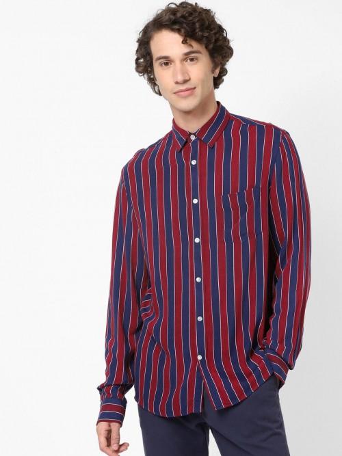 Celio Maroon And Navy Stripe Cotton Shirt