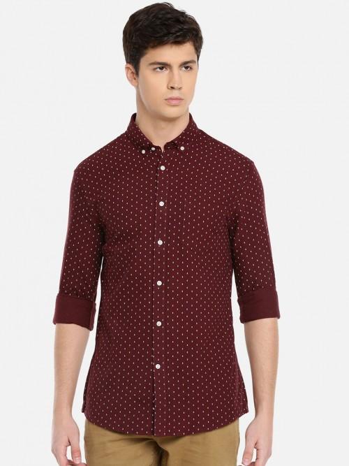 Celio Maroon Printed Cotton Shirt