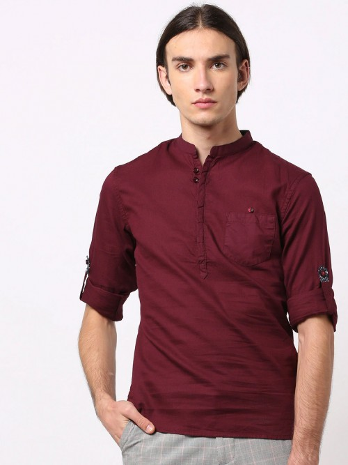 Celio Maroon Solid Cotton Casual Shirt