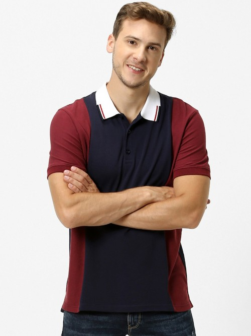 Celio Navy And Maroon Solid Latest T-shirt