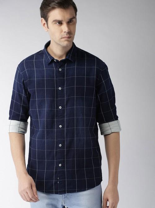 Celio Navy Checks Slim Collar Shirt