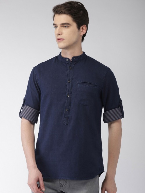 Celio Presented Solid Navy Chinese Neck Shirt