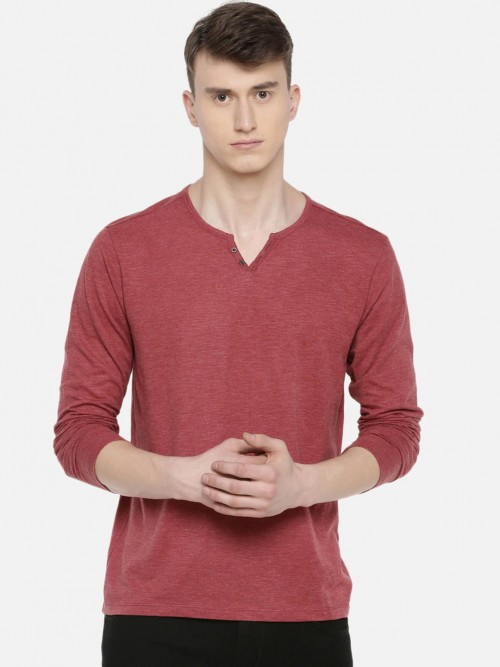 Celio Red Solid Henley Neck T-shirt