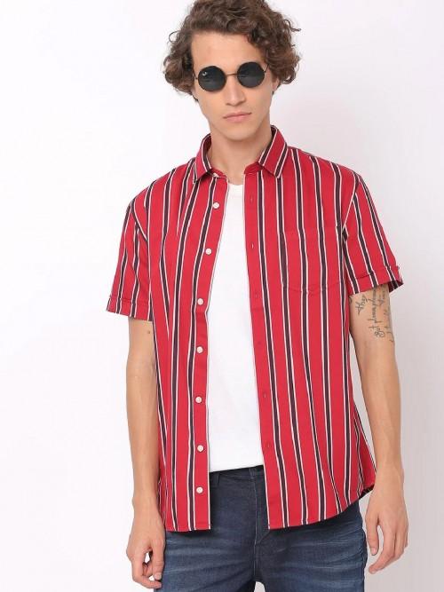 Celio Red Stripe Half Sleeves Shirt