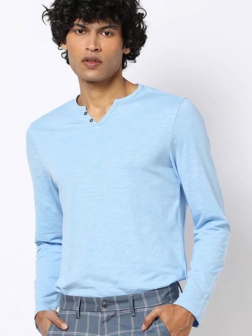Celio Sky Blue Solid Cotton T-shirt