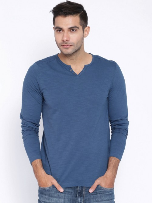 Celio Solid Blue Cotton Full Sleeves T-shirt