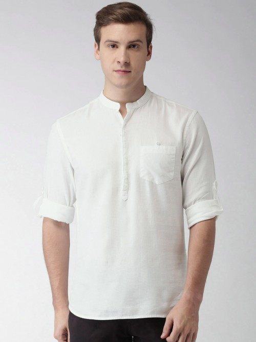 Celio White Solid Cotton Shirt