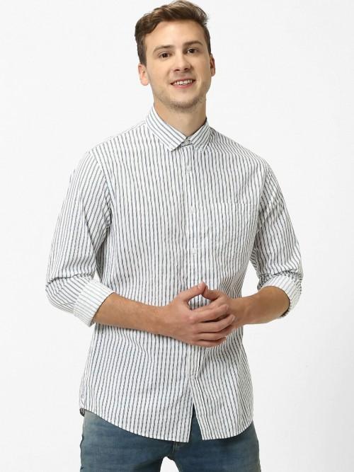 Celio White Stripe Cotton Shirt